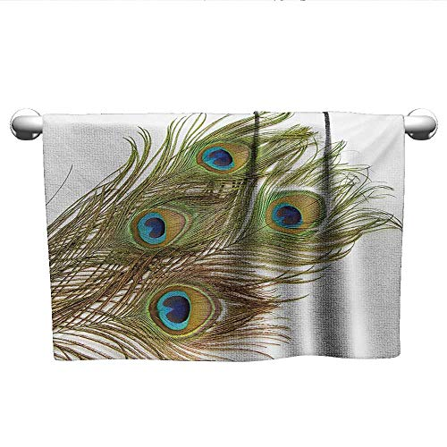 - alisoso Peacock,Bath Sheet Macro Peacock Tail Feather Like Third Eyes Vitality New Life Path Awakening Print Gym Towels for Women White Green W 14