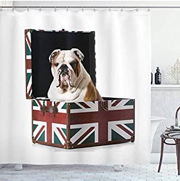 XZXMINGY Cortina de baño 3D 150x180cm Bulldog inglés Cortina de Ducha Bulldog Sentado en Union Jack Gran Bretaña Caja temática Diseño patriótico Decoración de baño