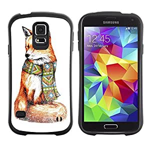Hybrid Anti-Shock Bumper Case for Samsung Galaxy S5 / Stylish Hipster Fox Painting