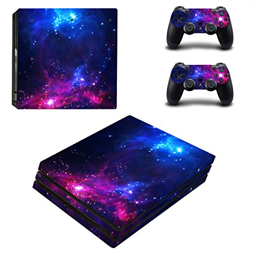 Decal Moments PS4 Pro Console Skin Set Vinyl Decal Sticker for Playstation 4 Pro Console Dualshock 2 Controllers-Purple Galaxy Space(PS4 Pro Only)