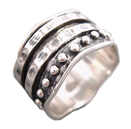 (Energy Stone HER Ring - Bold Look Double Spinners Sterling Silver Meditation Ring (Style# US34) (10.5))