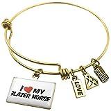 Expandable Wire Bangle BraceletI Love my Blazer Horse, Neonblond