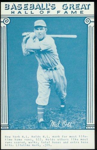 1977 Mel Ott Baseball Card Hall Of Fame Postcard Gorgeous Card