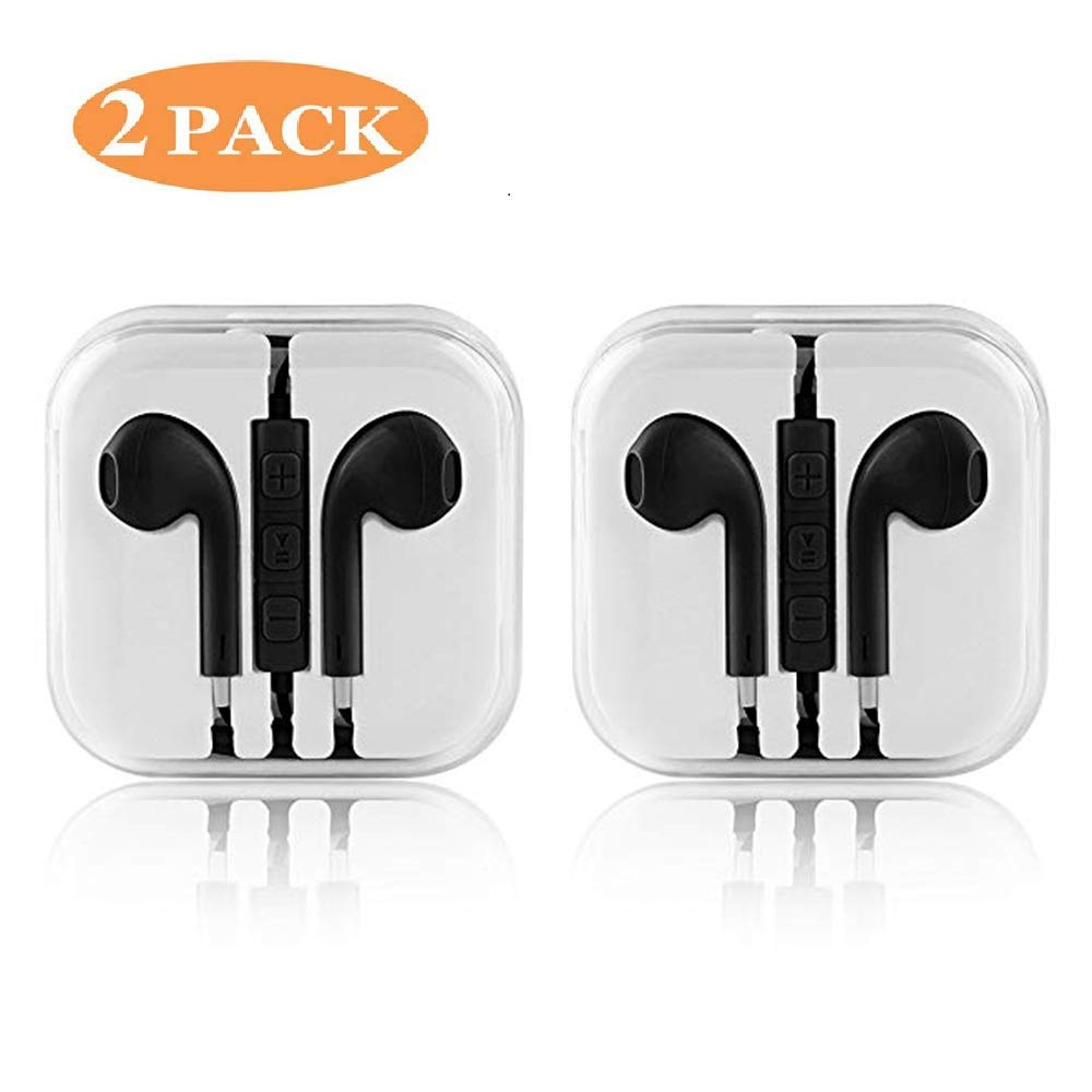 Wired earphone in-ear built-in remote volume control and microphone 3.5mm earphone 2 Pack