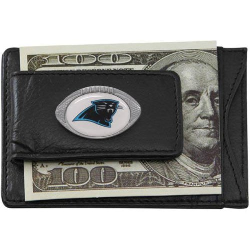 Carolina Panthers Black Leather Card Holder and Magnetic Money Clip