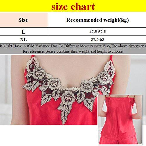 Zhuhaitf Women Quality Premium Satin Nightgowns Sleepwear Pajama Set Black