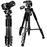 Camera Tripod,57DSLR Aluminum Camera Tripod for Canon, Nikon, Sony, Samsung, Olympus, Panasonic & Pentax + eCost Microfiber,With 1/4 3 Way PanHead,2 Bubble Level,57,Load up to 8.8lb, Carry Bag