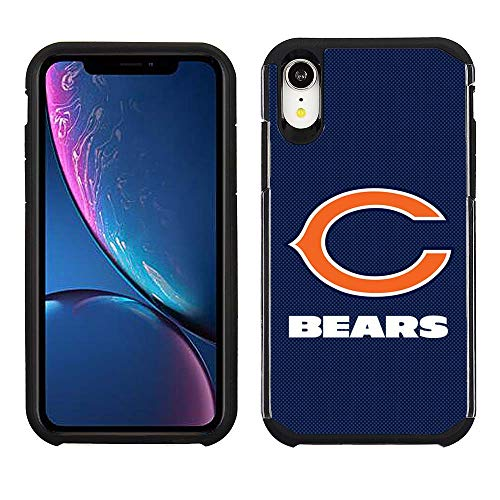 Prime Brands Group Cell Phone Case for Apple iPhone XR - NFL Licensed Chicago Bears - Blue Textured Back Cover on Black TPU Skin