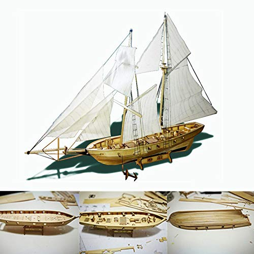 DragonPad 3D Wooden Sailboat Model Kit - 1:100 Wood Jigsaw Puzzle DIY Sailing Ship Toy to Build Decor - Classic Assembed Building Merchant Ship Boat Model Kids Adults Gift Standard