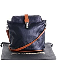 Italian Leather, Small Ostrich Effect Front Clasp Cross Body or Shoulder Bag Handbag. Includes a Branded Protective Storage Bag.