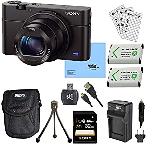 Sony DSC-RX100M III Cyber-shot Digital Still Camera Bundle with 32GB Card, 2 Spare Batteries, Rapid AC/DC Charger, SD Card Reader, Case, LCD Screen Protectors, and Table top Tripod