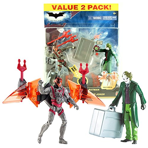 Mattel Year 2008 DC Comics The Dark Knight Series 2 Pack 5 Inch Tall Action Figure - BATTLE CAPE BATMAN with Light-Up Missile Launcher Wing VS DESTRUCTO-CASE THE JOKER with Mischievous Gadget (Dark Knight Joker Suit)