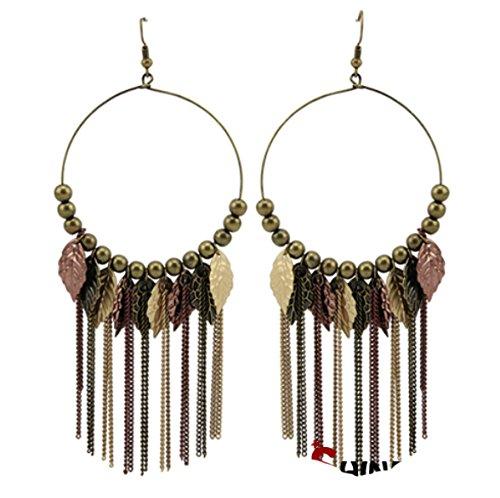 Crislu Pendant - Leaf-shaped Long Tassels Fish Hook Pendant Statement Drop Earring Ethnic Vintage Jewelry for Women