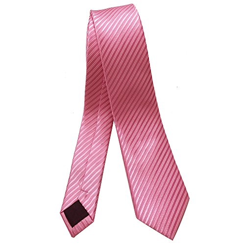 ainow-2-skinny-tie-necktie-with-stripe-textured-various-colors-pink