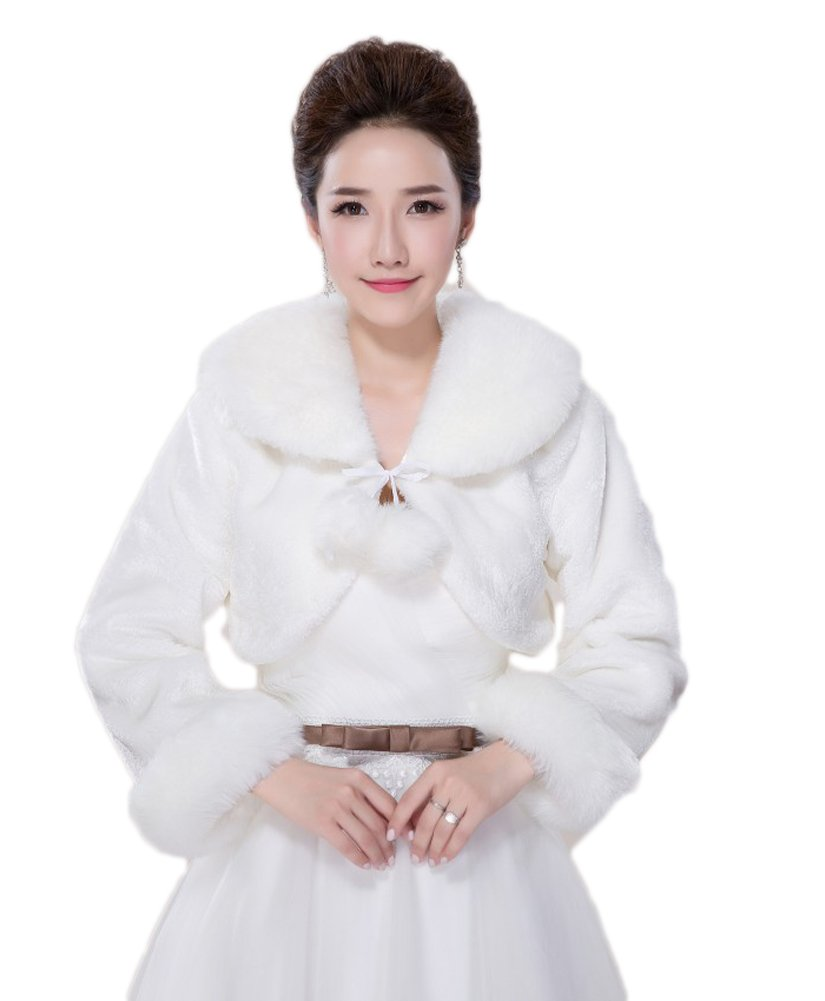 BOWITH Women Warm Wedding Shawl Evening Party Cape Faux Fur Jacket Coat Ivory 16