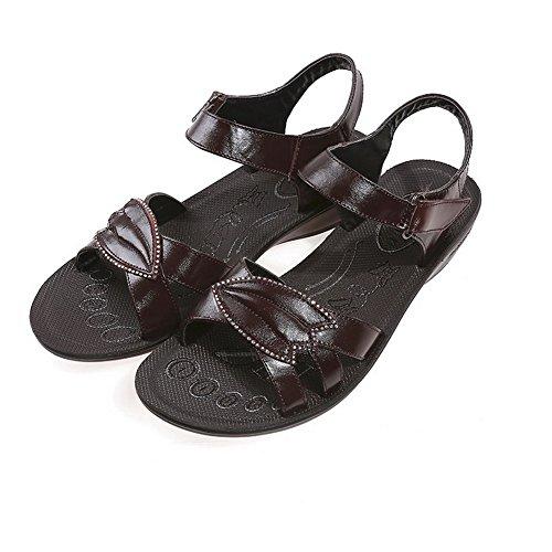 Amoonyfashion Donna Open Toe Tacco Basso Materiale Solido Sandalo Uncinetto-and-loop-sandali Marrone