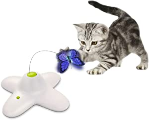 ALL FOR PAWS Interactives Cat Teaser Toy Catnip Toy Flutter Bug Cat Wand Toy Cat Fun Playing Toys Kitten Toys (Shiny Butterfly)