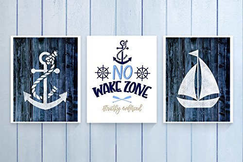 Three Piece Nautical Nursery Cardstock Prints 8.5 x11 ''No Wake Zone'' by June & Lucy