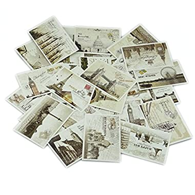 yueton 36 PCS 1 Set Retro Old Travel Postcards Vintage Landscape Photo Picture Poster Post Cards for Collecting