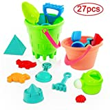 Acekid Mini Sand Toys Set, 27pcs Seaside Sand Castle Bucket Spade Shovel Rake Playset, Beach Toys Kit for Kids and Children