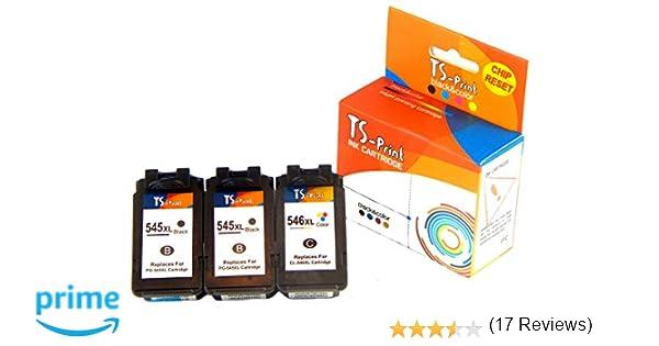 TS-Print 3 Cartuchos de Tinta PG-545XL CL-546XL (2BK+C) Reemplazo Canon PIXMA MX495 MX490 iP2800 iP2850 iP2840 iP2855 MG2400 MG2450 MG2500 MG2550 ...