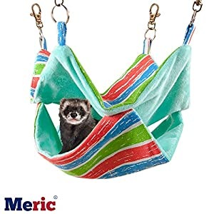 Ferret Hammock - Cotton Sleeping Nest for Small Animals - Pet Cage Swinging Bed & Nap Sack – Warm Cashmere Inner Lining for Winter - Durable Canvas Mat - With Rings & Spring Hooks - Machine Washable