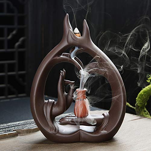 敬意を表して骨折溶融アロマセラピーロッドバーナーブラケット-Zisha Buddha Hand Waterfall Incense Burner Large Sandalwood Furnace Creative Fragrance Xiangxiang Zen Chan 22 * 16 * 5cm
