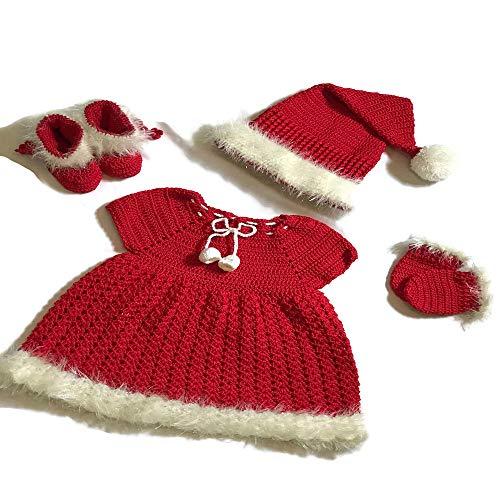 Newborn Baby Girl Handmade Crochet Christmas Costume Set