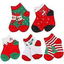 Newborn Baby Girls Boys Christmas Socks Cotton Toddler Xmas Socks Infant Christmas Socks-5 Pairs