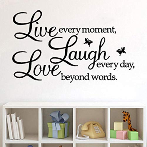 Rubysam Removable Vinyl Quotes and Saying Dr. Seuss Live Every Moment, Laugh Every Day, Live Beyond Words Family Wall Decal Stickers Murals Home Art ()
