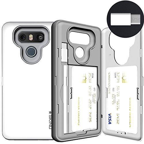 LG G6 Case, LG G6 Card Case, SKINU [USB Type C] [White] [Shockproof] [Dual Layer] [Card Slot] [Drop Protection] [Wallet] with Mirror and Adapter for LG G6 - White