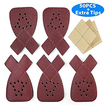 Sanding Sheets for Black and Decker Mouse Sanders, 50PCS 60 80 120 150 220 Grit Mouse Sandpaper Assortment with Extra Tips for Replacement, 12 Holes Hook and Loop Detail Sander Sanding Pads Sand Paper