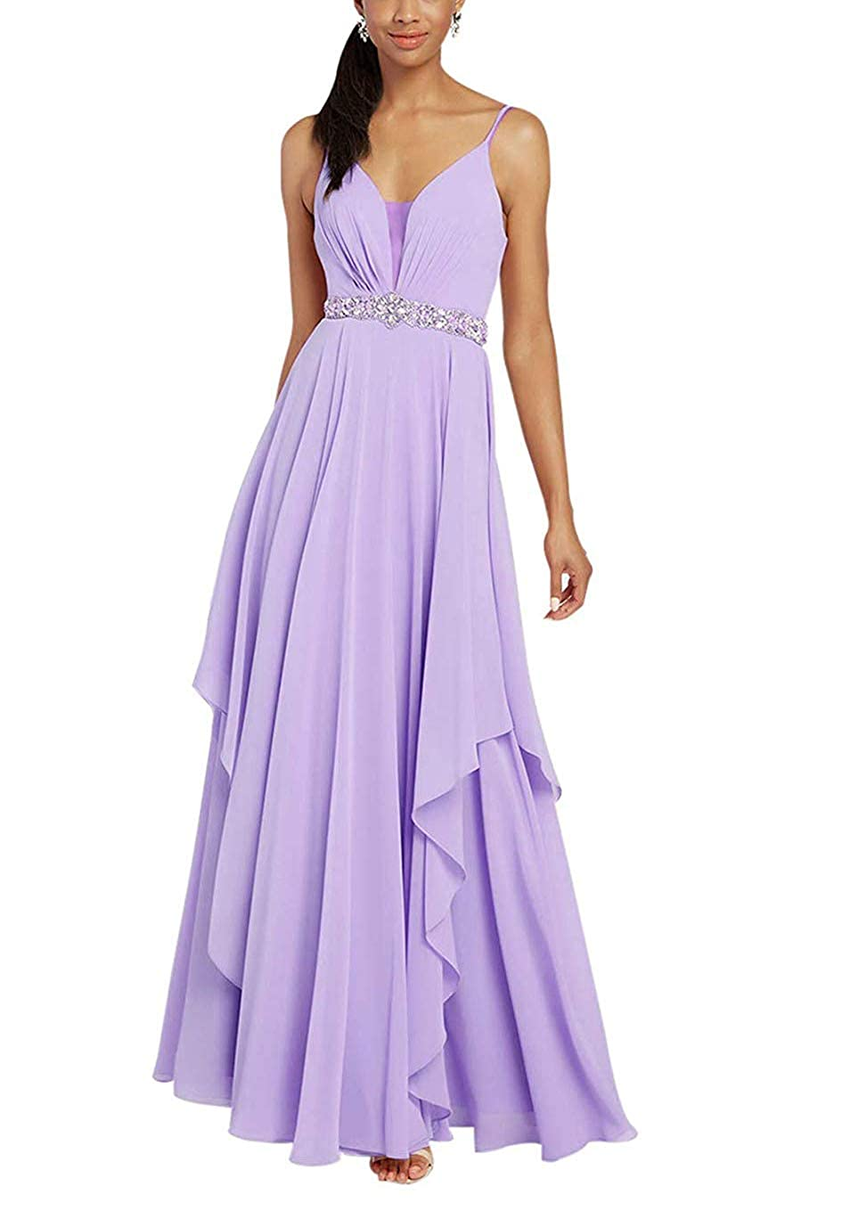 Lavender Stylefun Spaghetii Strap Bridesmaid Dress for Women Ruched Skirt Evening Formal Gowns with Beaded Belt KN025