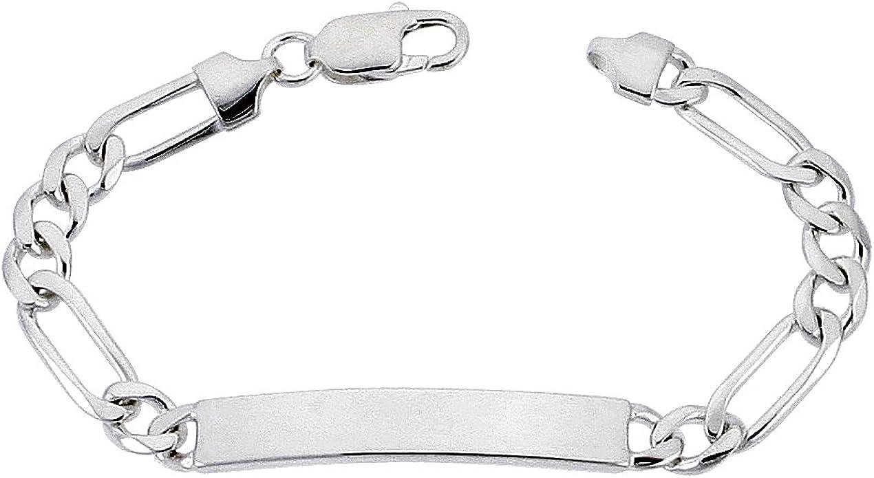 Men/'s  Ladies/' 925 Sterling Silver Figaro Bracelet 7 inch8 inch 120 Gauge 5 mm
