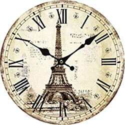 Moonluna Eiffel Tower Nursery Wall Clock for Kids Wooden Wall Art Decoration Silent Non Ticking Christmas Clock Gifts 14 Inches