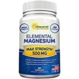 Elemental Magnesium Supplement - 180 Veggie Capsules - Max Strength Magnesium Citrate & Oxide 500 mg Formula, Mag Tablet Pills for Sleep & Vitamin Deficiency, Natural Calm Complex for Women & Men