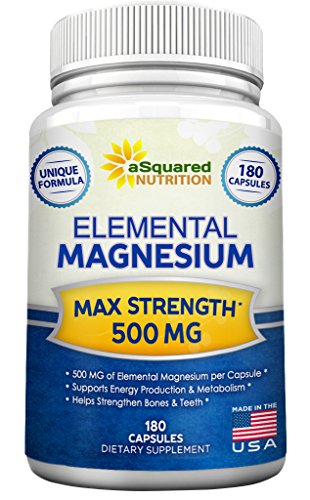 Elemental Magnesium Supplement - 180 Veggie Capsules - Max Strength Magnesium Citrate & Oxide 500 mg Formula, Mag (Premier Labs Liquid Vitamin D)