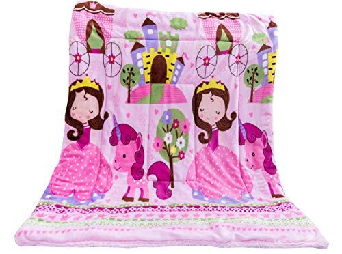 (Elegant Home Kids Soft & Warm Sherpa Baby Toddler Boy Blanket Printed Borrego Stroller or Baby Crib or Toddler Bed Blanket Plush Throw 40X50 (Princess Palace))