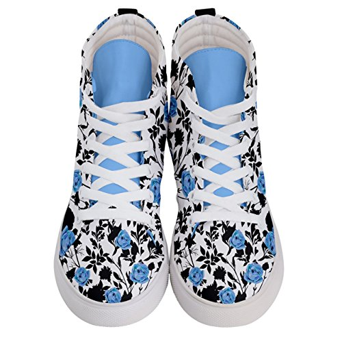 of Womens Fashion Skate Vintage Sneakers amp; Blue Black Top High Flowers CowCow Womens on BTZYtt