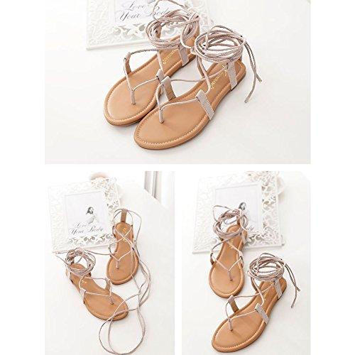 De Chaussures Kivors Plage Kaki Sandales Style Plat Femme Eté Lanière Rome XqnwxqzUZ1