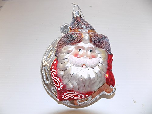 Western Santa Ornament (Cowboy Western Santa Glass Ornament)