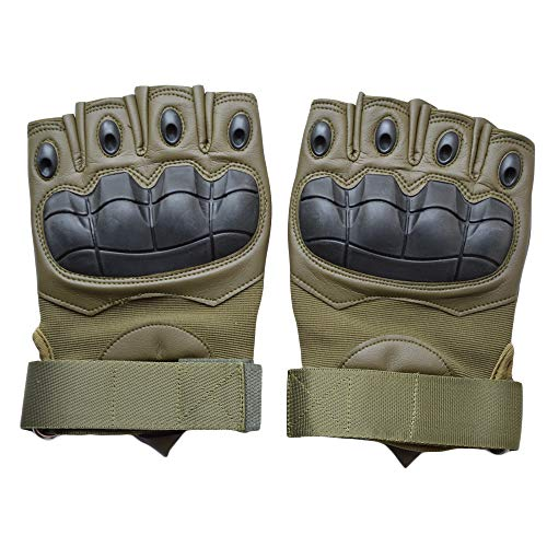AIFEI Tactical Gloves Military Rubber Knuckle Gloves Fingerless/Half Finger Outdoor Gloves Fit for Fitness,Climbing,Hunting,Cycling,Airsoft,Paintball,Motorcycle,Hiking,Camping (Army Green, Large)