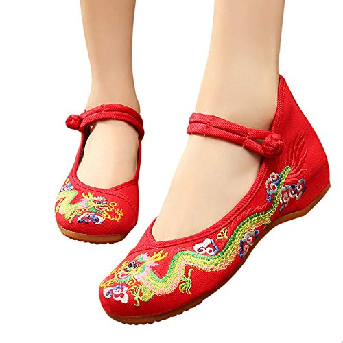 CINAK Embroidered Shoes for Women -Chinese Dragon Casual Loafers Crafts Comfortable Ballet Flats with Ankle Strap(6 B(M) US/UK4/EU36/CN37/23.5CM,Red)