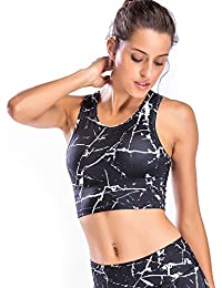 Womens Yoga Crop Tank Tops With Built-in Bra Sports Racerback