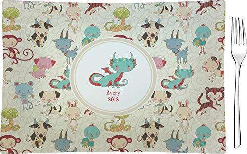 - Chinese Zodiac Glass Rectangular Appetizer/Dessert Plate (Personalized)