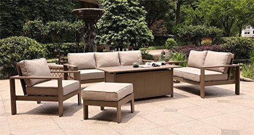 Marativa 6 Piece Deep Seating Set, 30x61 Chat High Gas Firepit Table (Deep Seating Fire Pit Table)