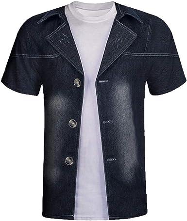 Camisa de Hombre, Internet_Top Estampado 3D para Hombre, Chaqueta Vaquera de Dos Piezas, Camiseta de Manga Corta, Camiseta con Cuello Redondo(Negro M-2XL): Amazon.es: Ropa y accesorios