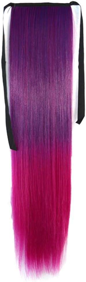 Correa de cola de caballo de cabello largo femenino gradiente ...