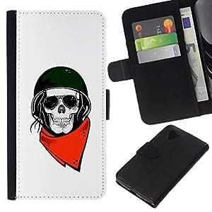KLONGSHOP // Tirón de la caja Cartera de cuero con ranuras para tarjetas - Motociclista Casco Blanco Cráneo de la motocicleta - LG Nexus 5 D820 D821 //