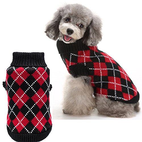 KOOLTAIL Christmas Dog Argyle Sweater Crochet Knitted for Doggie Puppy Cat